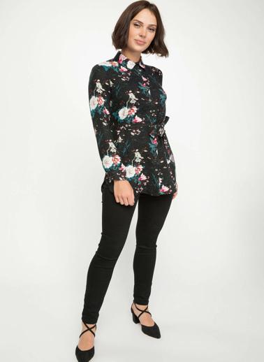 DeFacto Kuşak Detaylı Floral Desenli Gömlek Tunik Siyah